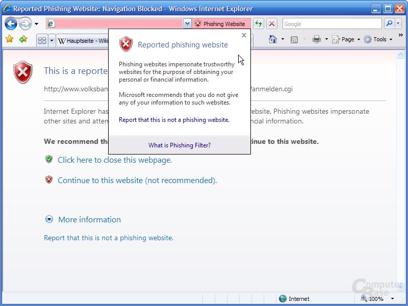"""Internet Explorer 7 RC1 – """"Phishing-Hilfe"""""""