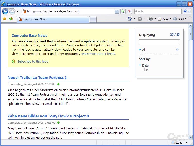 Internet Explorer 7 RC1 – Feed-Ansicht
