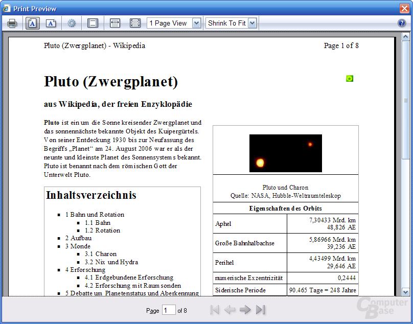 Internet Explorer 7 RC1 – Druckvorschau