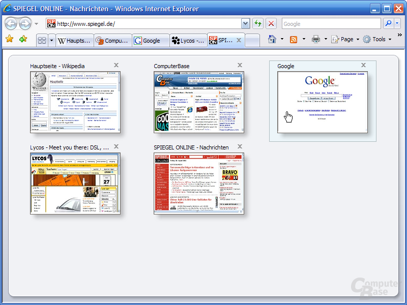 Internet Explorer 7 RC1 – Tabvorschau