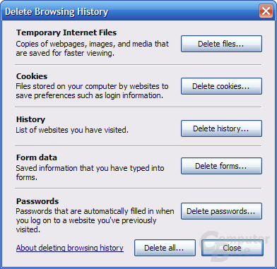 Internet Explorer 7 RC1 – Delete Browsing History