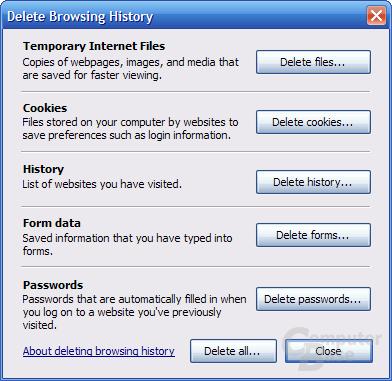 Internet Explorer 7 RC1 – Delete Browsing History