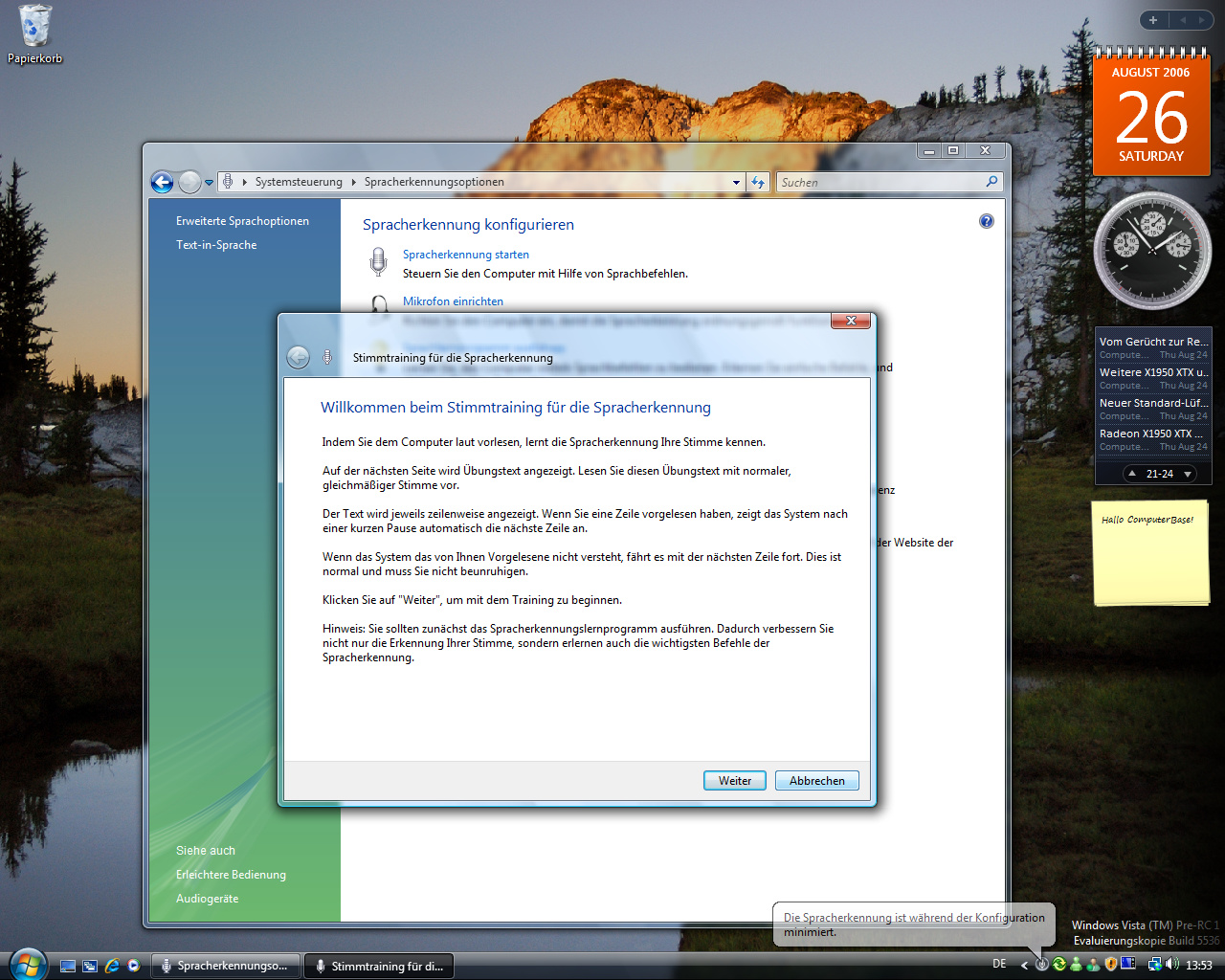 Windows Vista Build 5536 - Spracherkennung