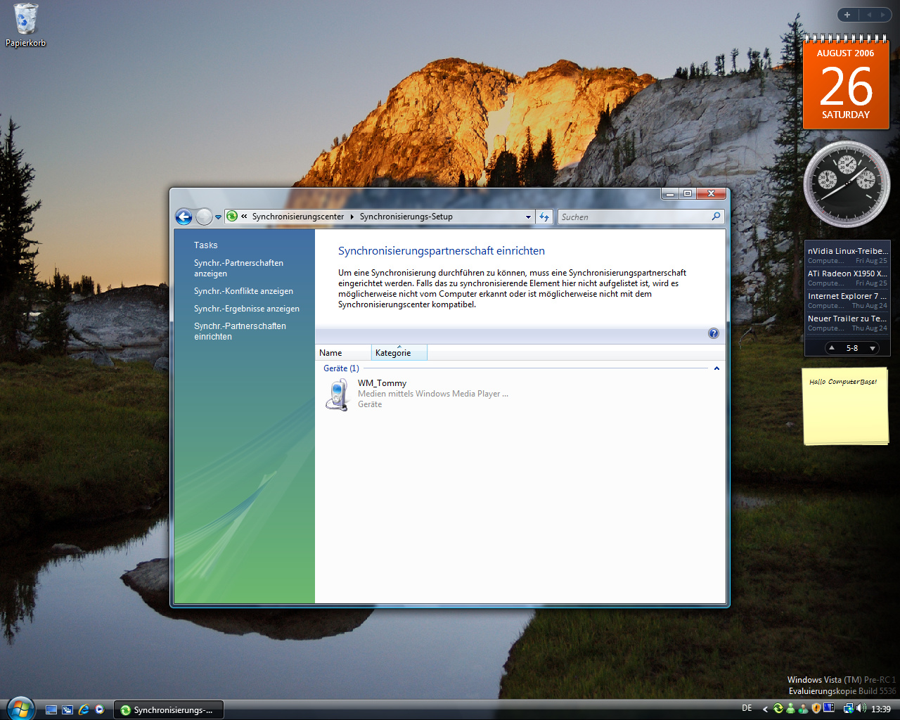 Windows Vista Build 5536 - Synchronisationscenter 2