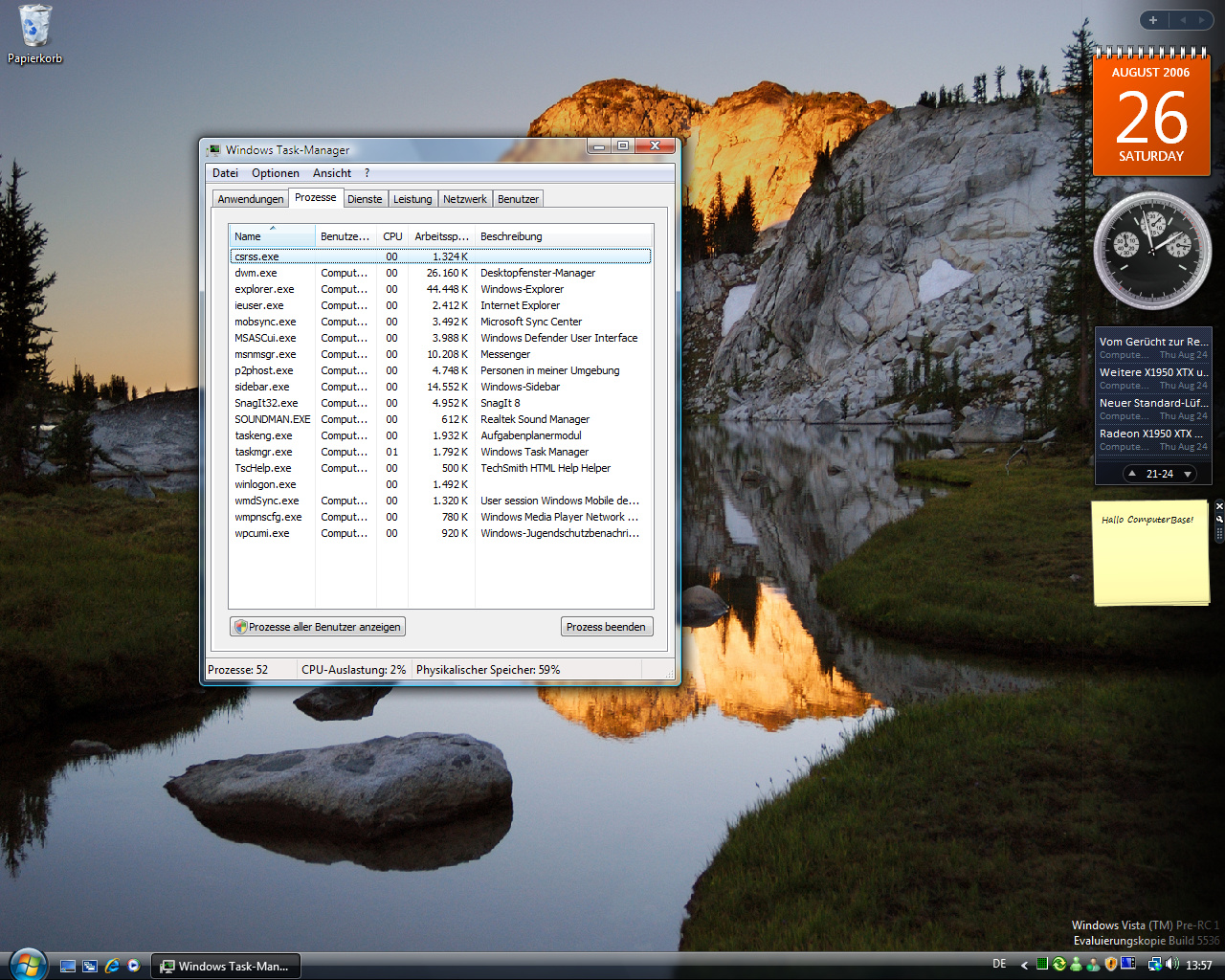 Windows Vista Build 5536 - Taskmanager