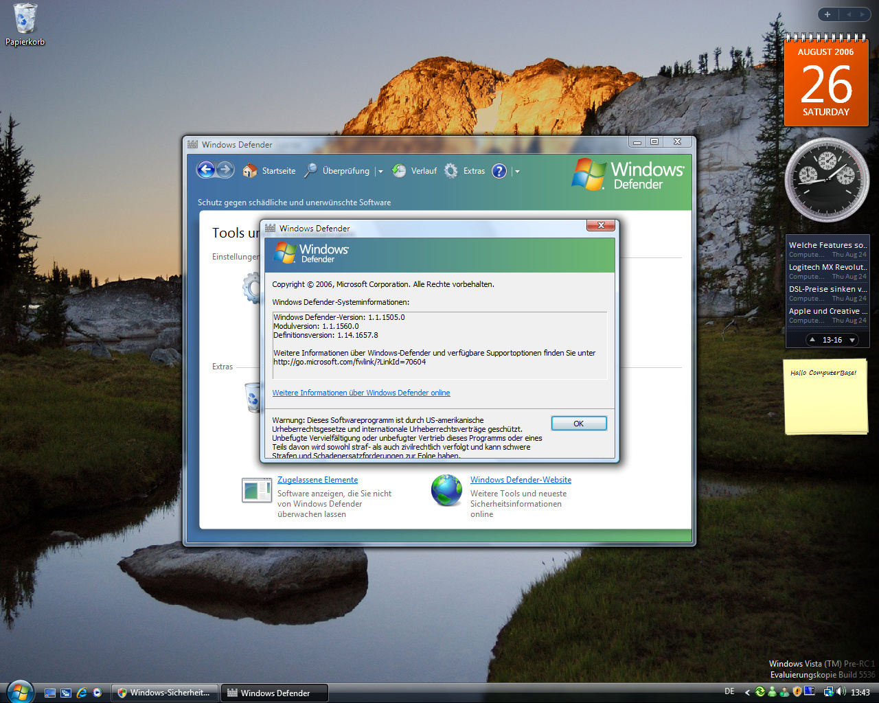 Windows Vista Build 5536 - Defender Versionsnummer