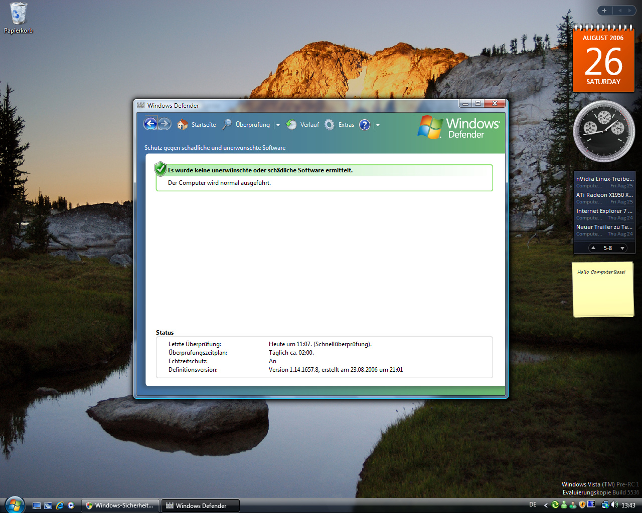 Windows Vista Build 5536 - Defender