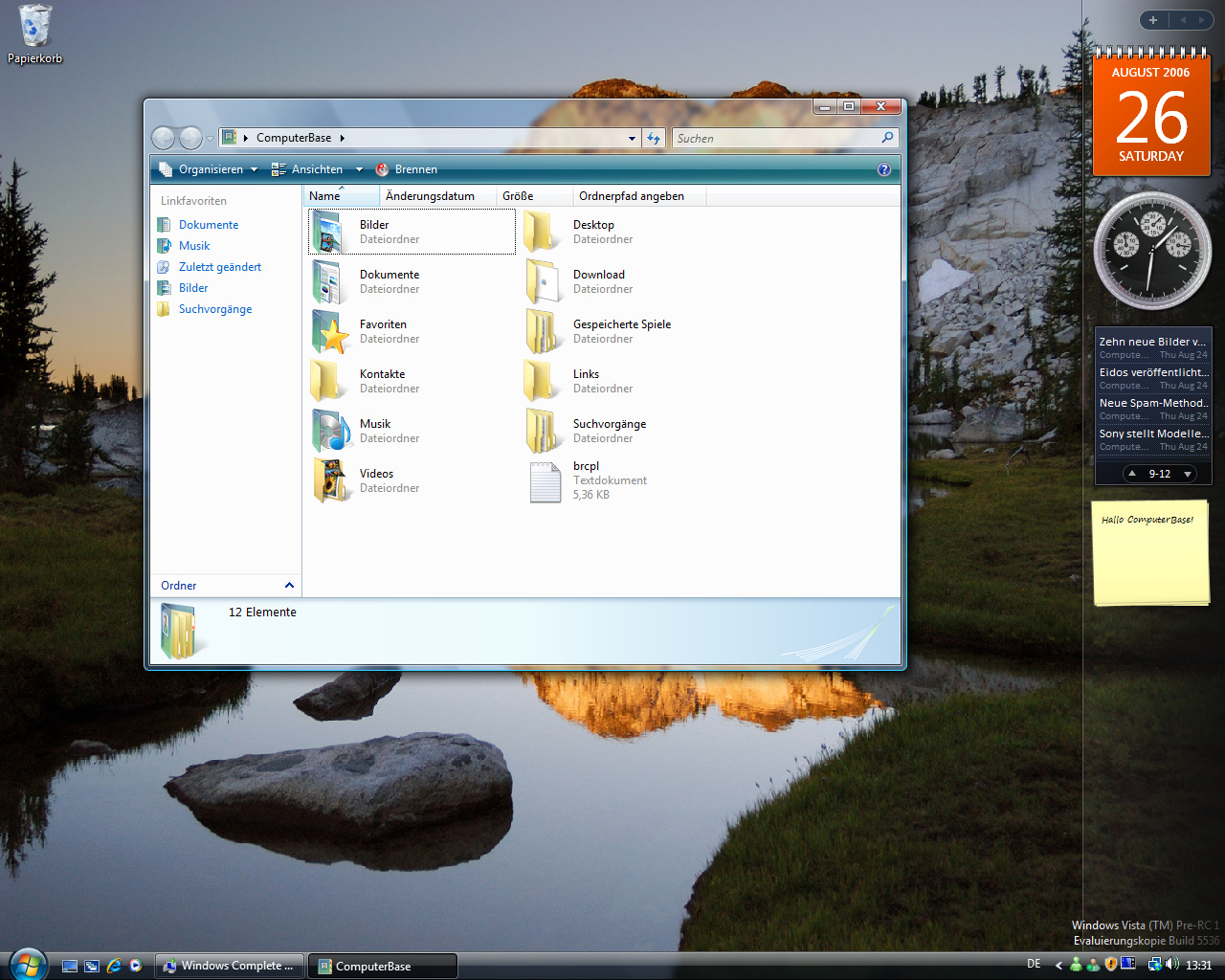 Windows Vista Build 5536 - Explorer Eigene Dateien