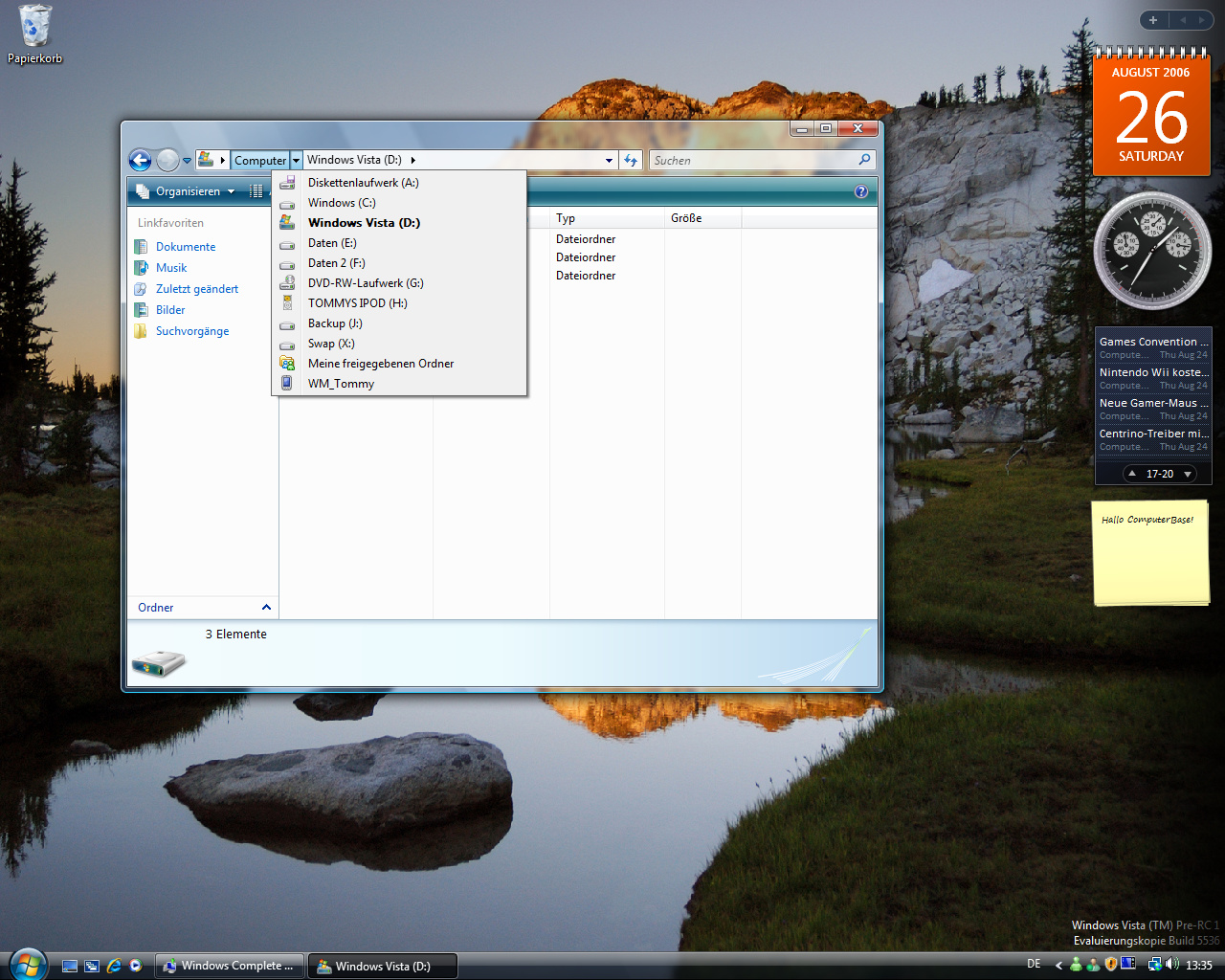 Windows Vista Build 5536 - Explorer Pfade zum Ausklappen
