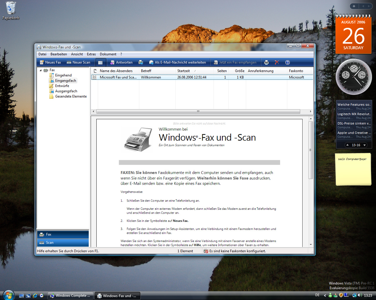 Windows Vista Build 5536 - Fax und Scan