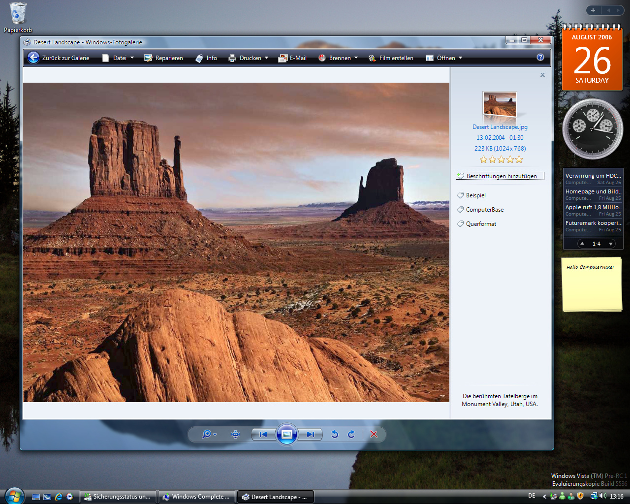 Windows Vista Build 5536 - Fotogalerie
