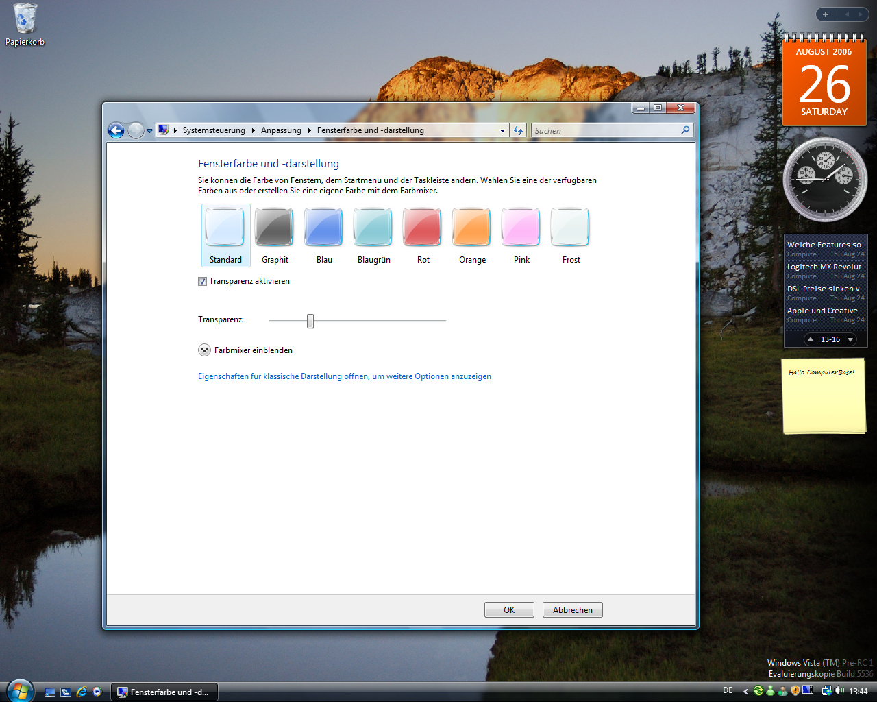Windows Vista Build 5536 - Anpassung