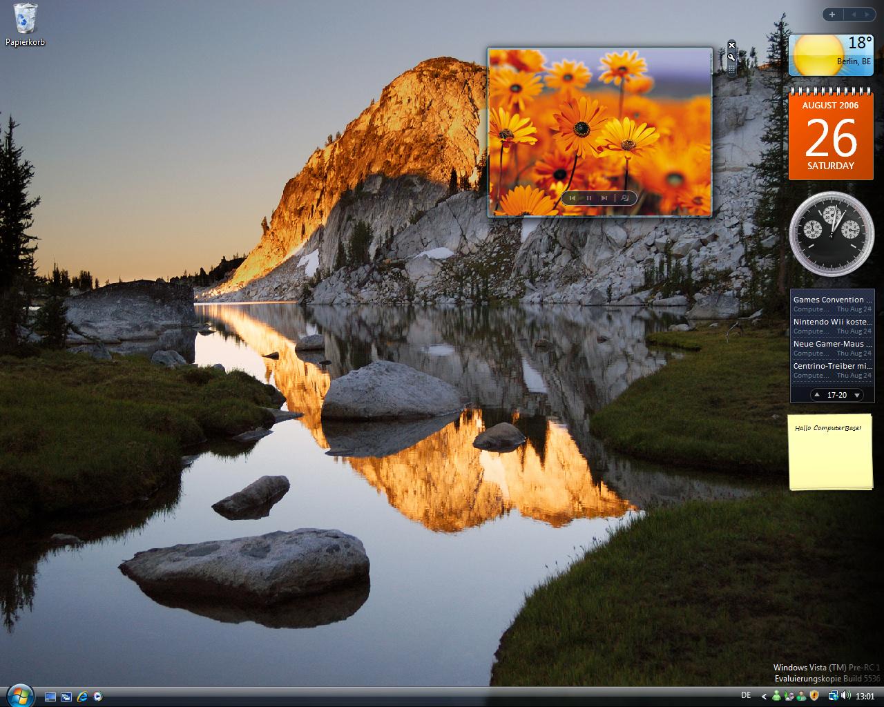 Windows Vista Build 5536 - Gadgets können auch auf dem Desktop laufen