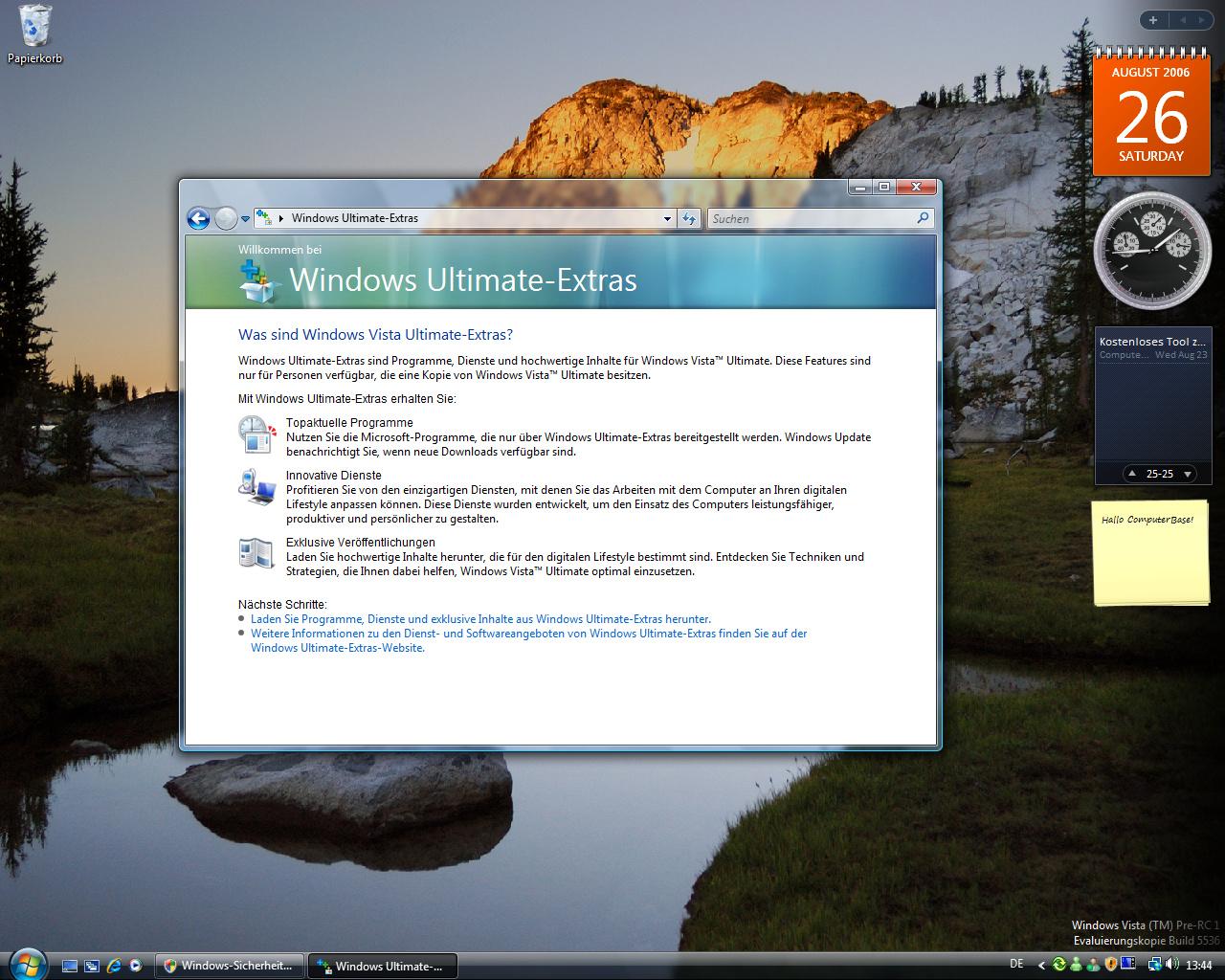 Windows Vista Build 5536 - Im Laufe der Zeit sollen fuer Vista Ultimate Extras erscheinen