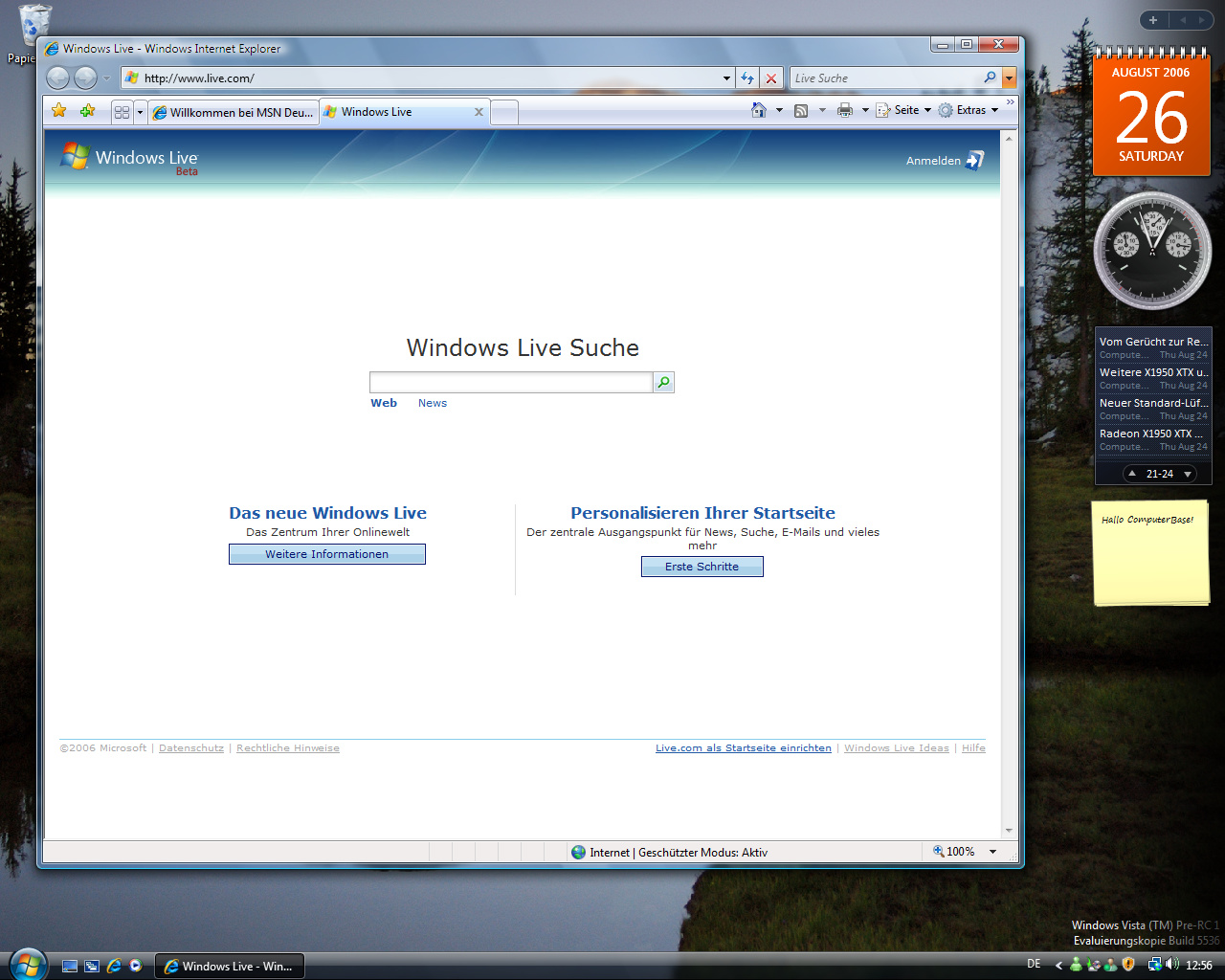 Windows Vista Build 5536 - Internet Explorer 7.0 - Standardmäßig mit zwei Startseiten