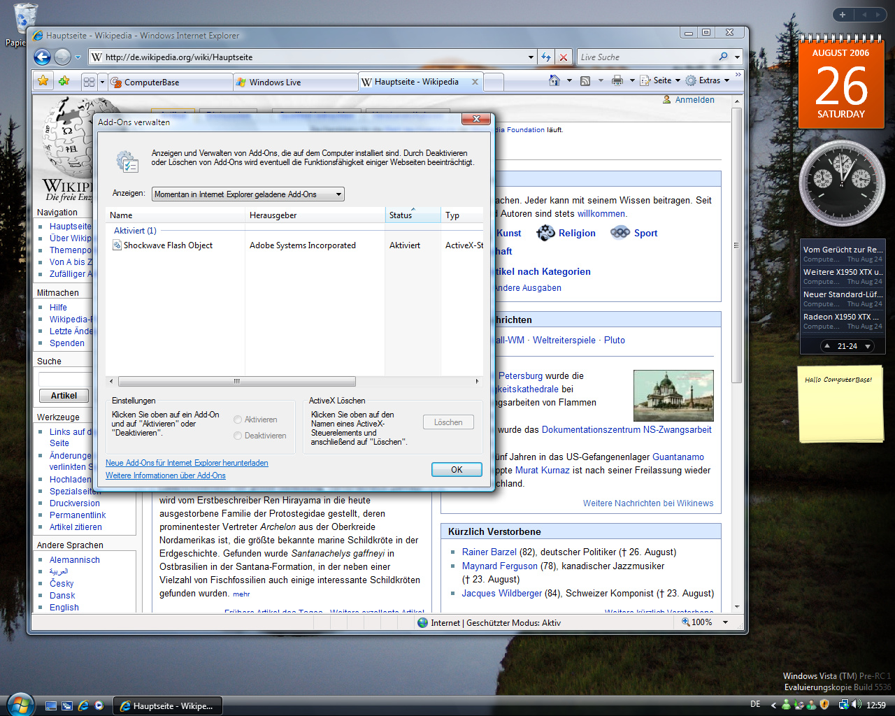 Windows Vista Build 5536 - Internet Explorer 7.0 Add-Ons-Manager