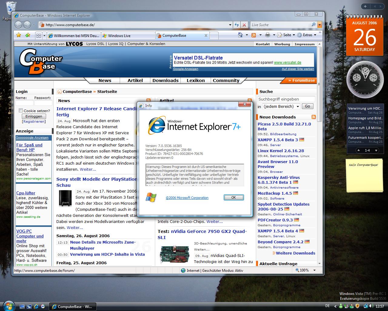 Windows Vista Build 5536 - Internet Explorer 7.0 meldet sich noch als 7+. Das wird sich bis zur fertigen Version ändern