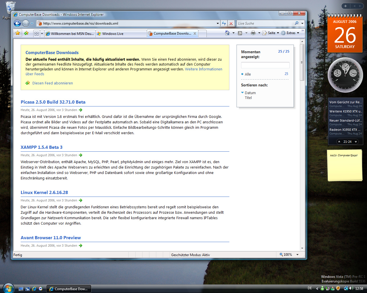 Windows Vista Build 5536 - Internet Explorer 7.0 mit RSS-Unterstützung