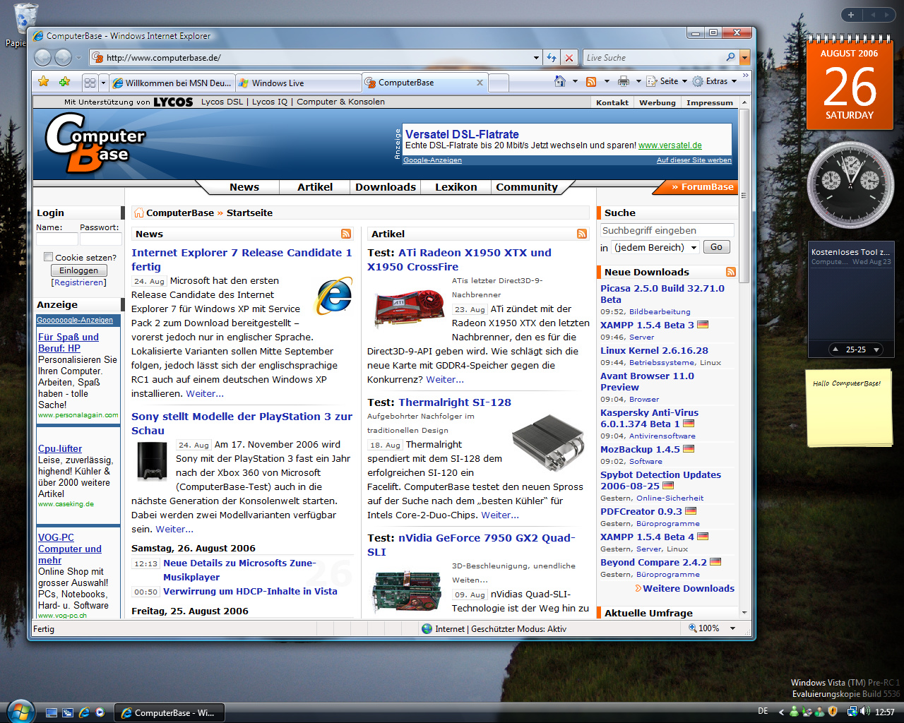 Windows Vista Build 5536 - Internet Explorer 7.0