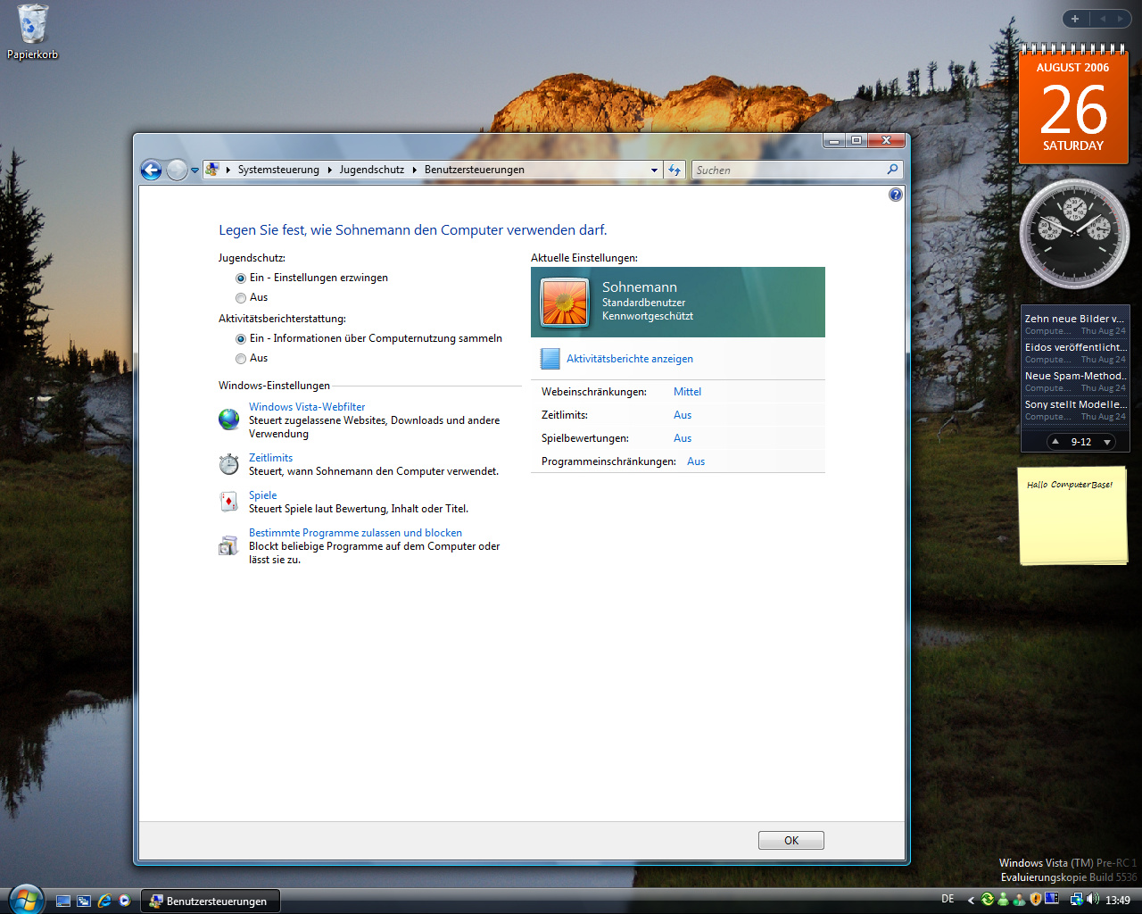 Windows Vista Build 5536 - Jugendschutz