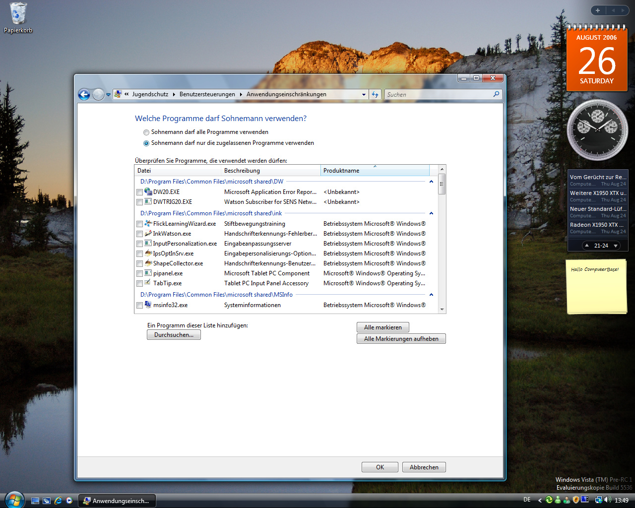 Windows Vista Build 5536 - Jugendschutz 6