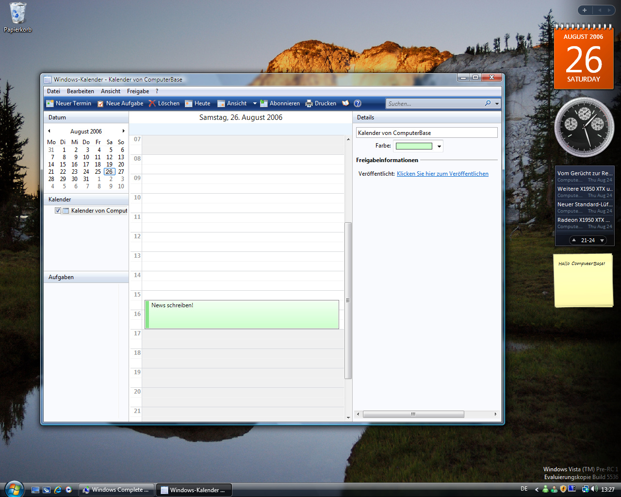 Windows Vista Build 5536 - Kalender