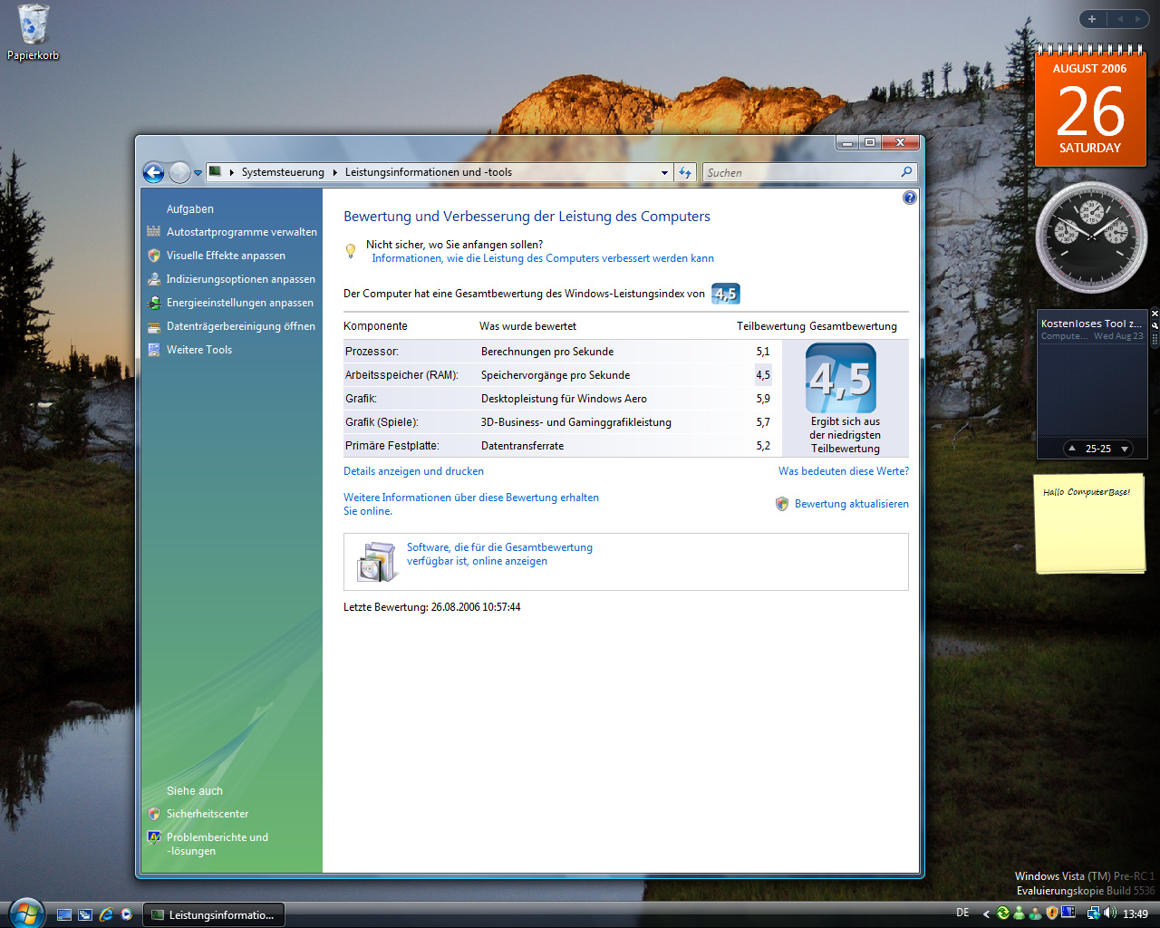 Windows Vista Build 5536 - Leistungsinformationen