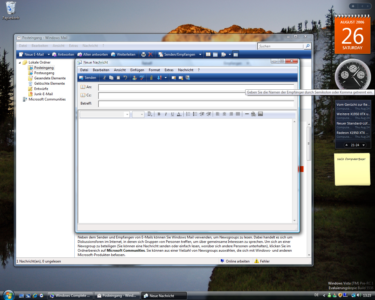 Windows Vista Build 5536 - Mail schreiben