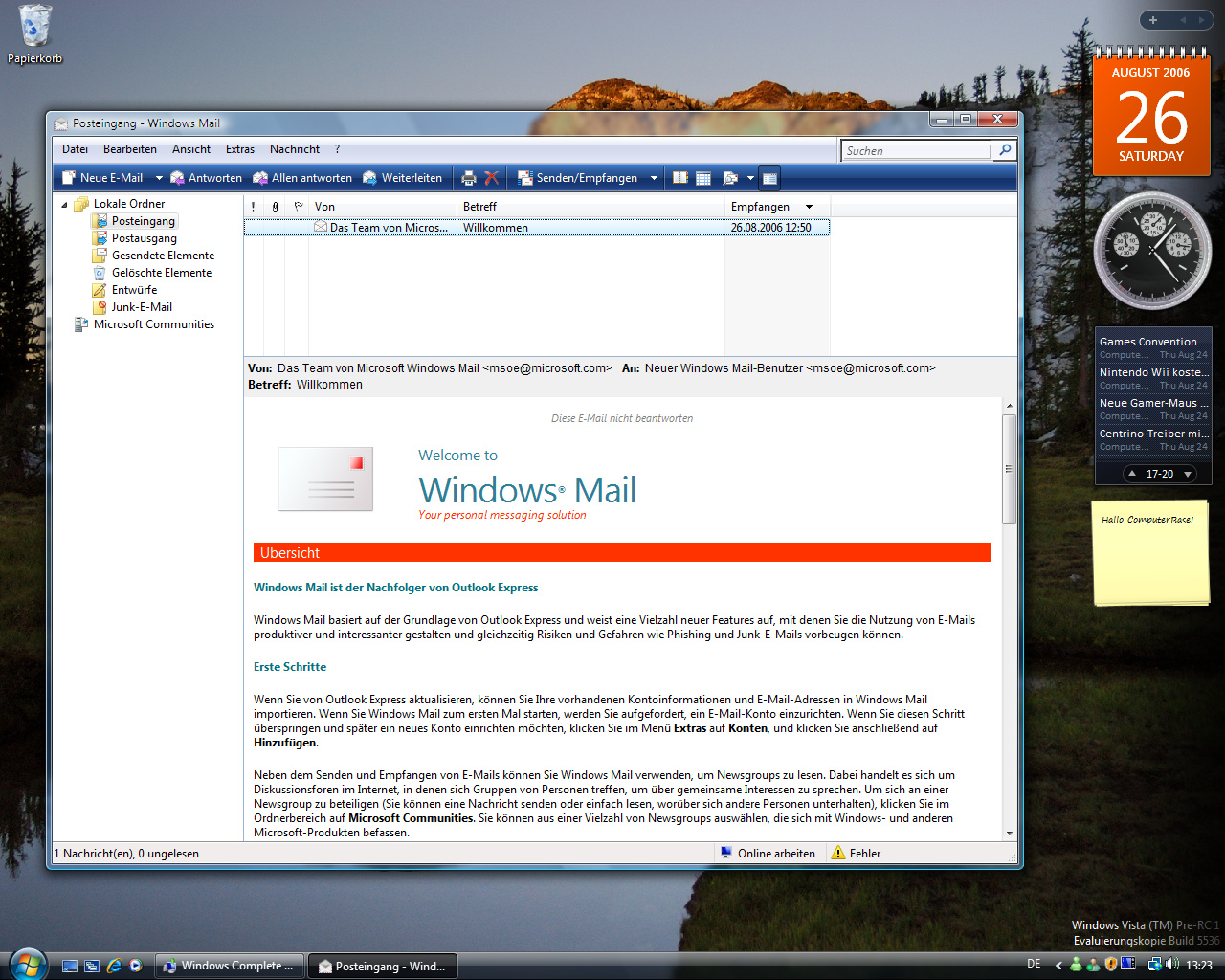Windows Vista Build 5536 - Mail
