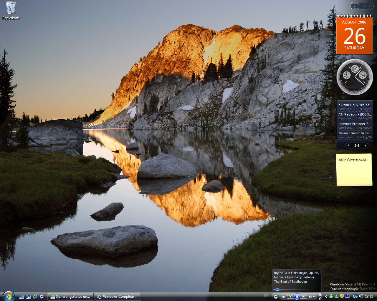 Windows Vista Build 5536 - Media player 11 Taskbar-Modus