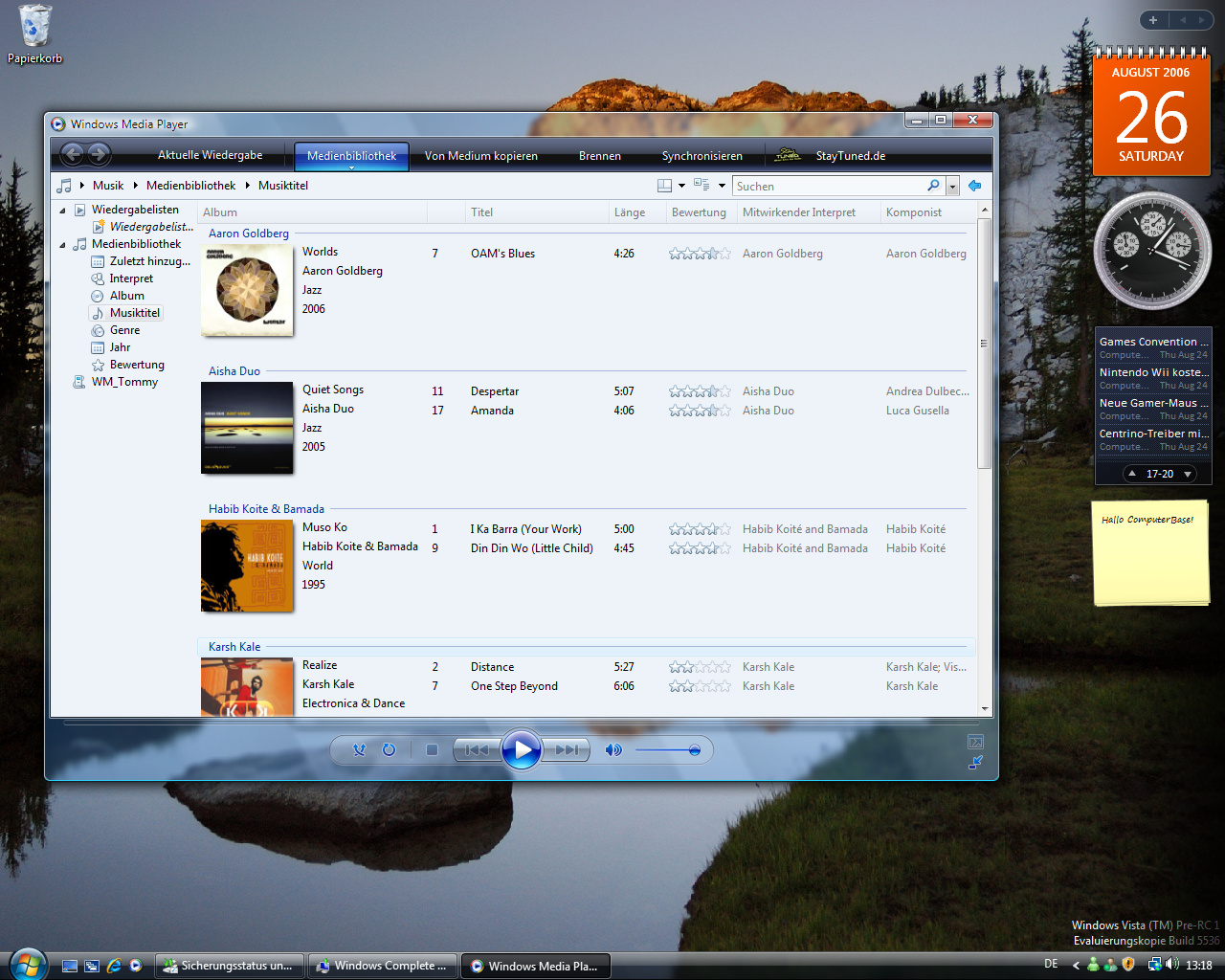 Windows Vista Build 5536 - Media Player 11