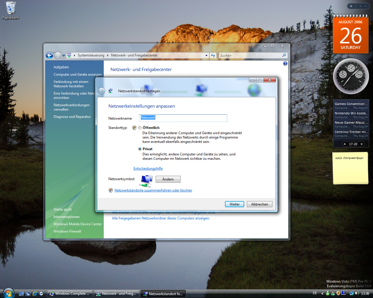 Windows Vista Build 5536 - Netzwerkcenter