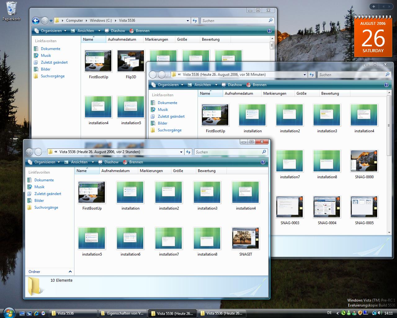 Windows Vista Build 5536 - Schattenkopie zeigt ein und den selben Ordnern zu verschiedenen Zeitpunkten