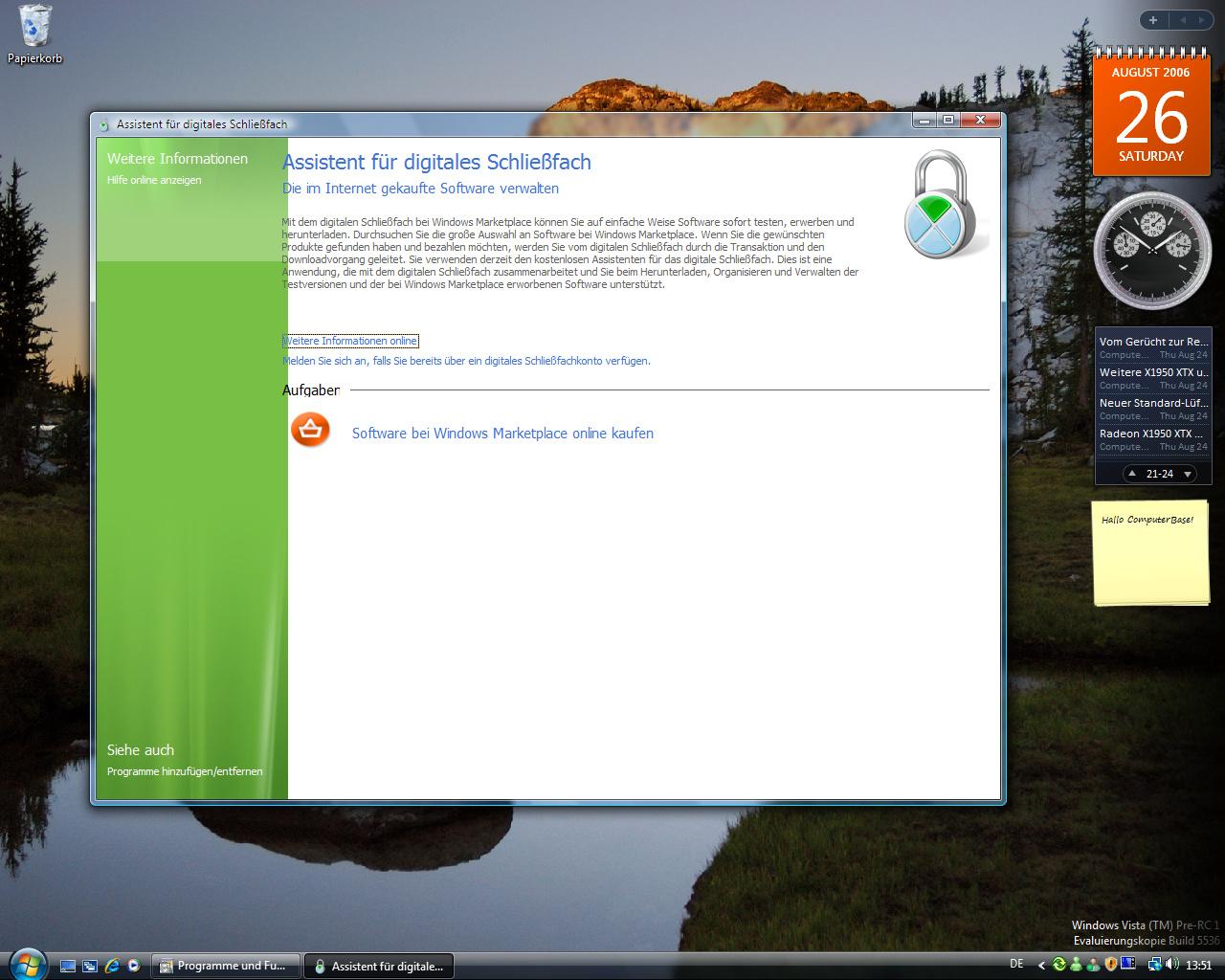 Windows Vista Build 5536 - Schließfach für online gekaufte Software - Hellgrün als Indiz für ein weiters Vista-Skin oder einfach nur veraltet?