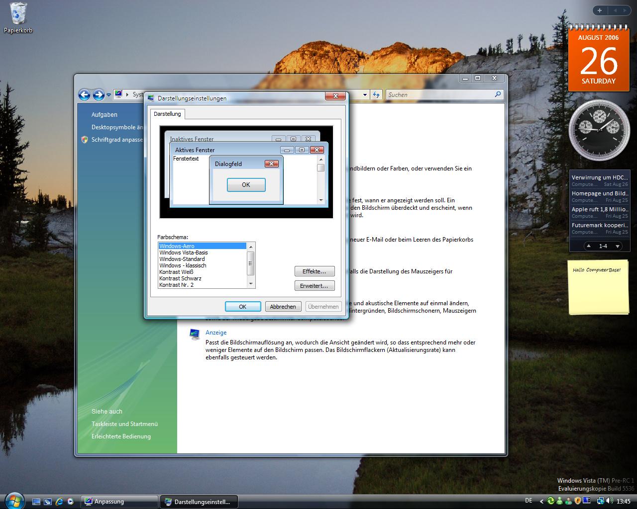 Windows Vista Build 5536 - Skins - Aero-Style für moderne Rechner mit WDDM-Treiber