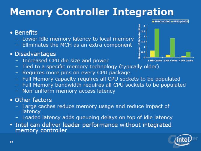 Intel: Performance auch ohne integrierten Speichercontroller (IMC)