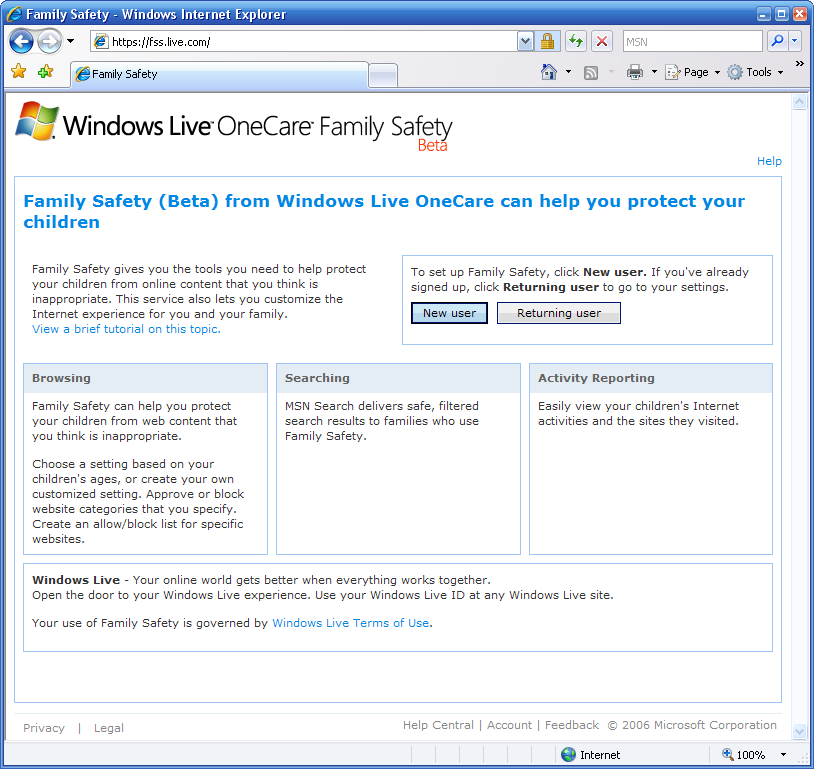 Windows Live OneCare Familiy Safety