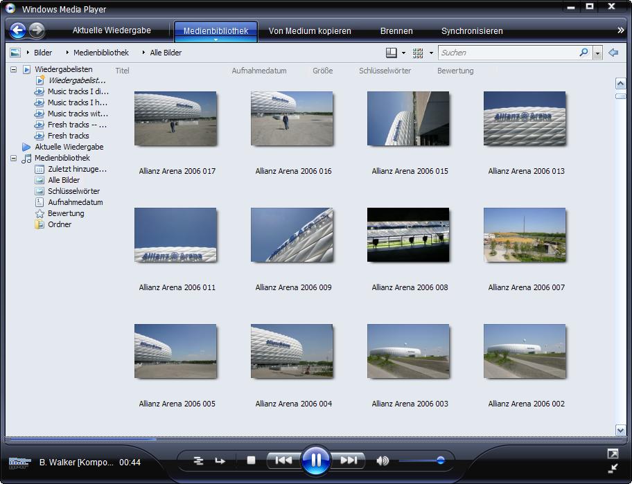 Windows Media Player 11 Beta zeigt auch Fotos