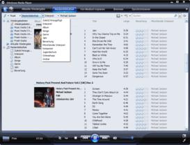 Windows Media Player 11 Beta sortiert nach verschiedenen Parametern