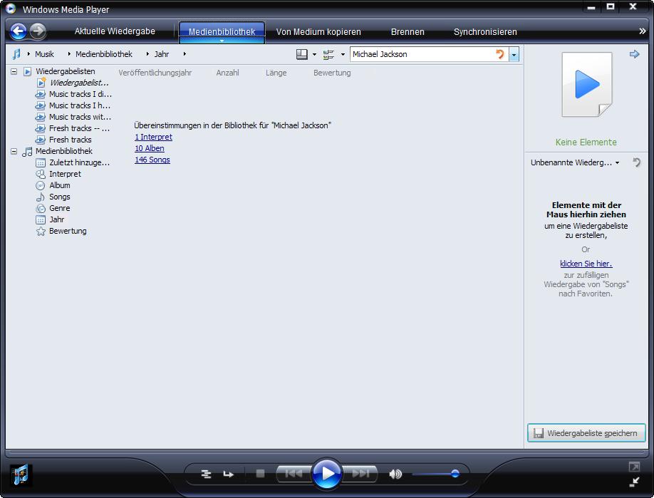 Windows Media Player 11 Beta mit As-You-Type-Suche