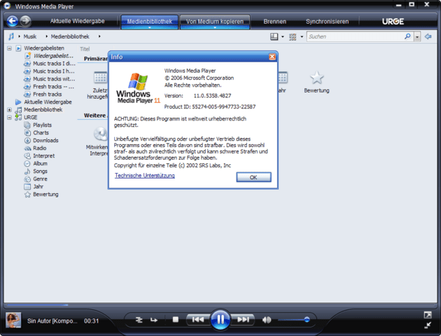 Windows Media Player 11 Beta: Versionsnummer