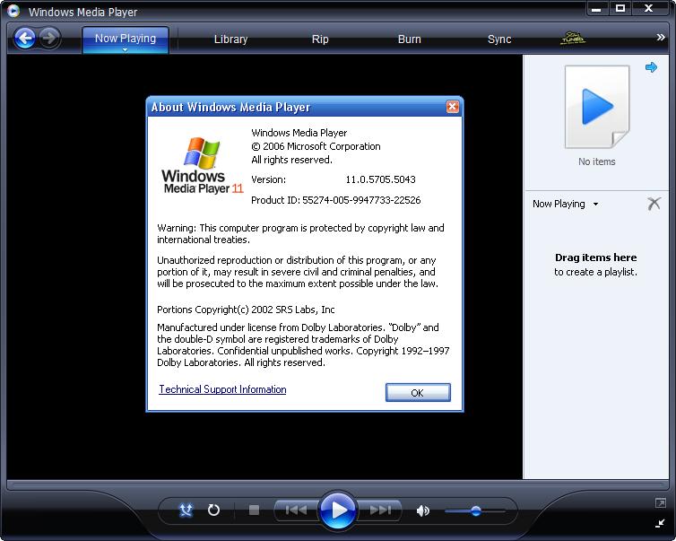 Windows Media Player 11 Beta 2 - Buildnummer