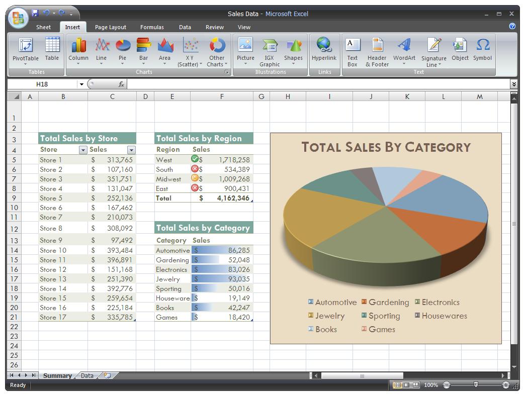 Microsoft Excel 2007 – Schwarze Oberfläche