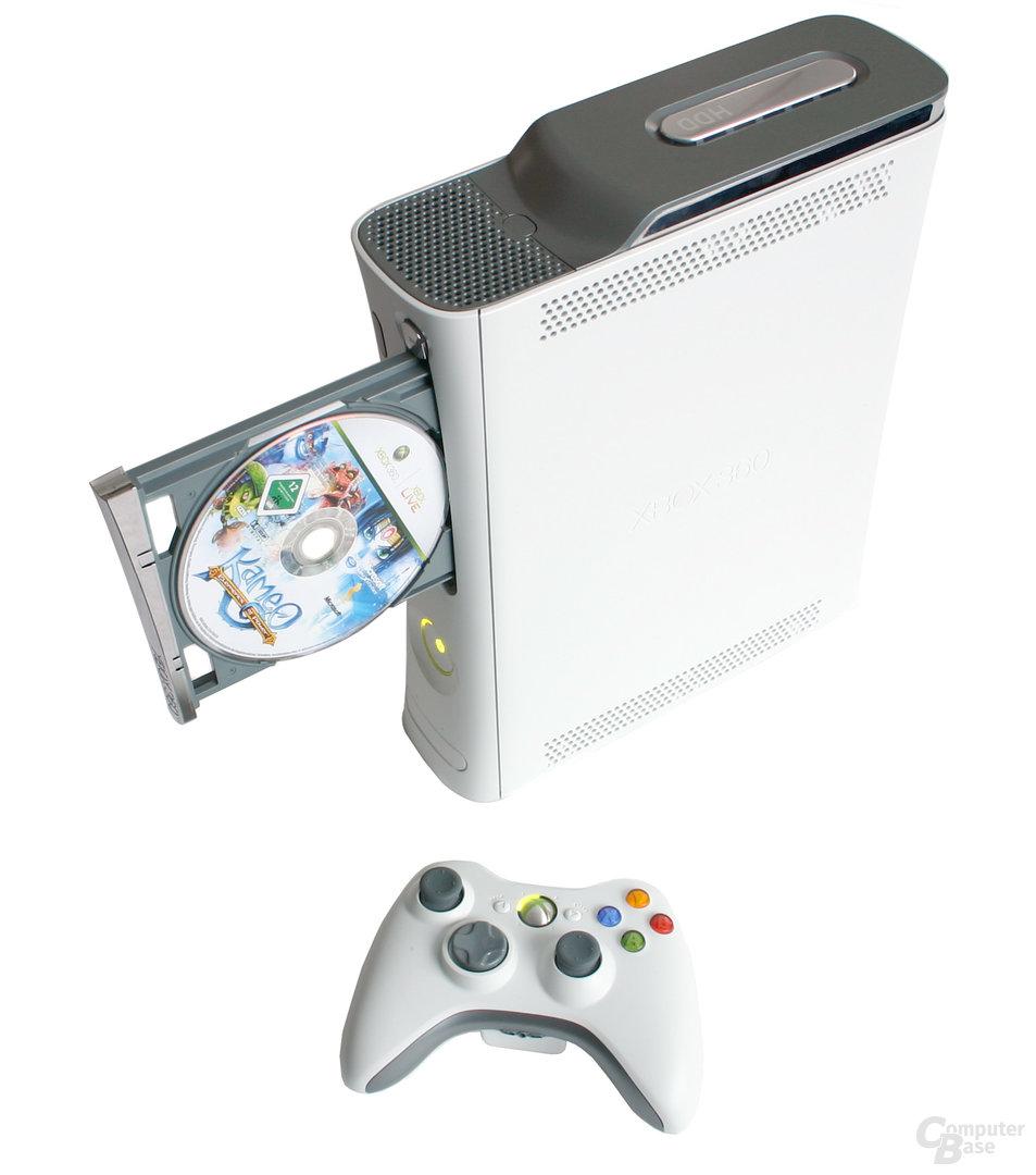 Xbox 360 - Horizontal mit Controller und geöffnetem DVD-Laufwerk