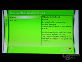 Benutzeroberfläche - Xbox Live-Mitgliedschaftserstellung
