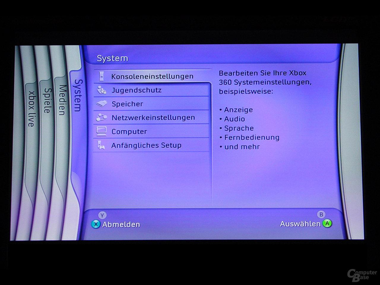 Benutzeroberfläche - System Menü