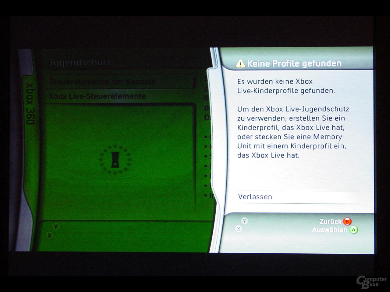 Benutzeroberfläche - Xbox Live Jugendschutz