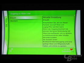Benutzeroberfläche - Zugang zu Xbox Live erlauben