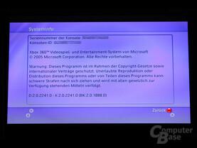 Benutzeroberfläche - Systeminfo