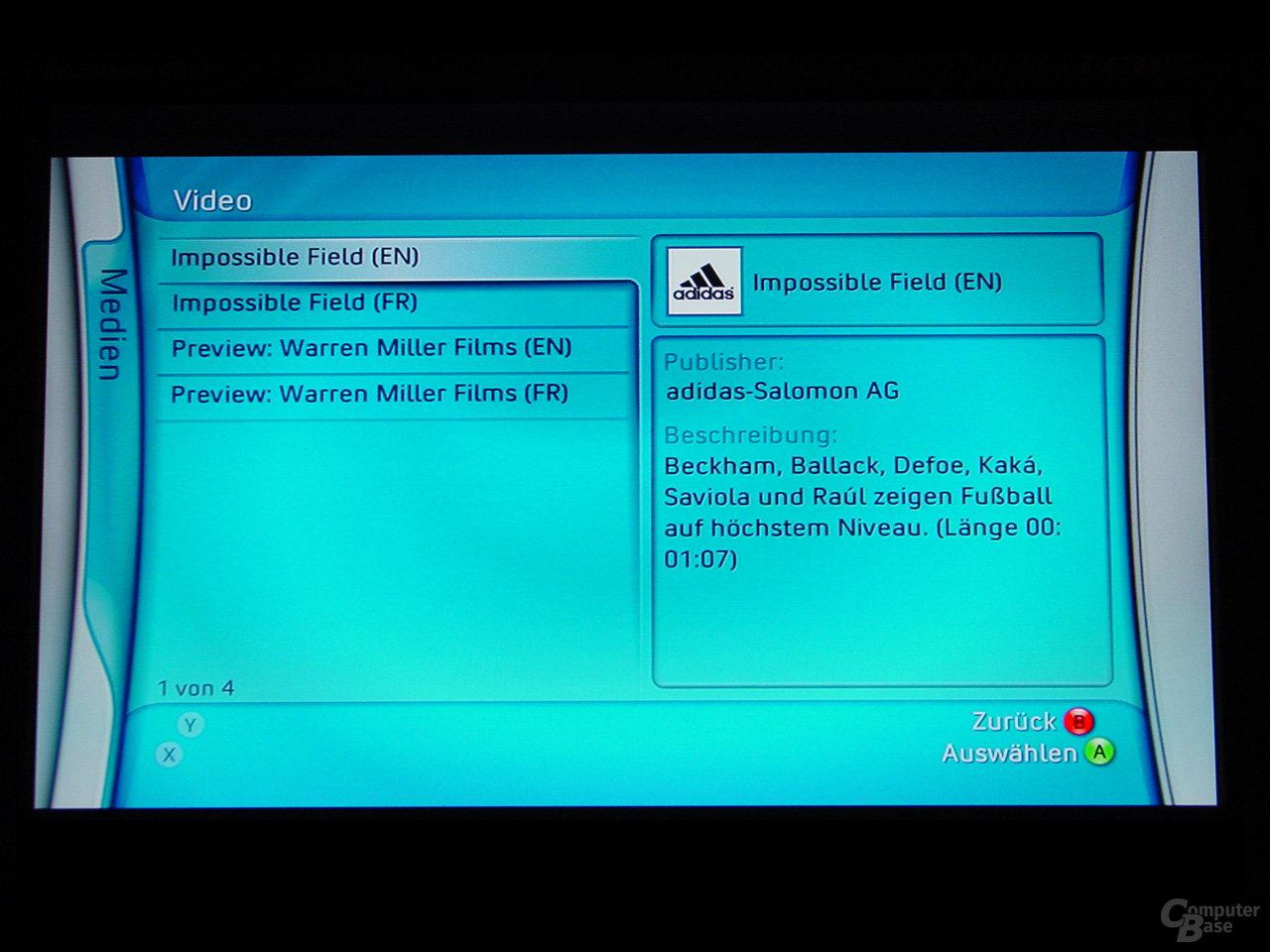 Benutzeroberfläche - Videos von der Festplatte